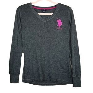 U.S. Polo Assn. Vneck Embroidered Logo Top